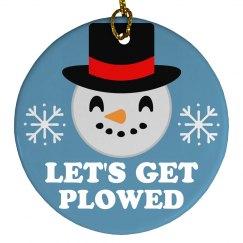 Let's Get Plowed Emoji Ornament