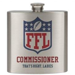 Funny Fantasy Football Commissioner Flask