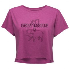 STORM TROOPERS & HAM (junior's crop top pink/charcoal)