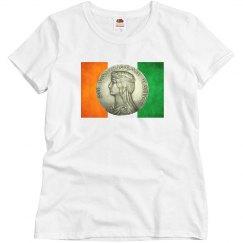 Antique Irish Coin on Flag