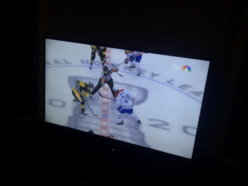 Hockey game on TV