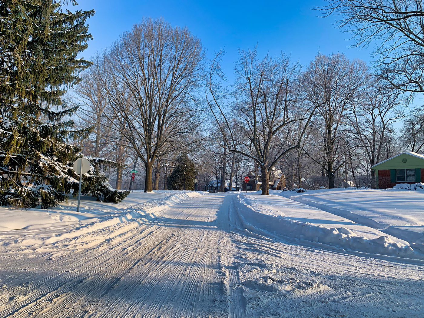 A sunny day in Wildwood Park after a snowstorm