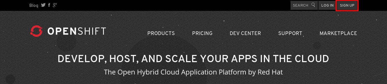 Sign up Openshift
