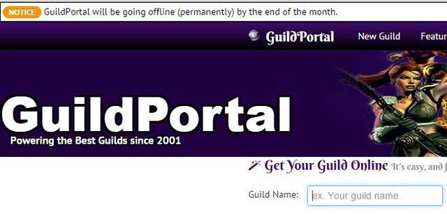 GuildPortal will be going offline (permanently) by the end of the month.
