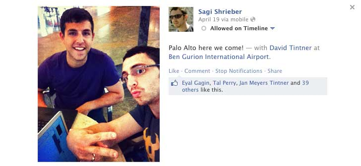 Sagi and David at the airport on the way to California