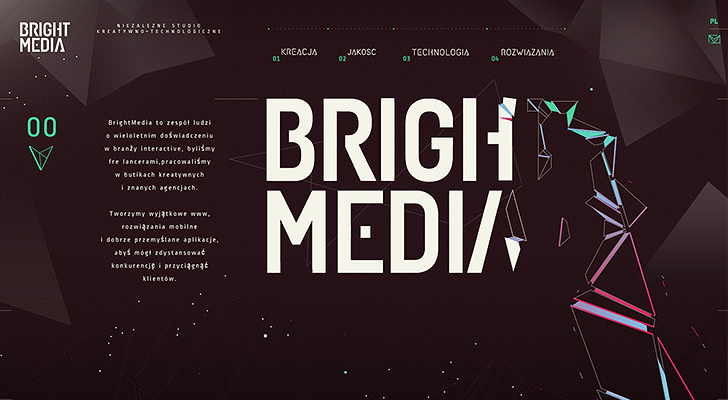 home page for bright media website redesign