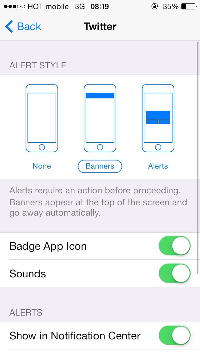 regular iOS notifications