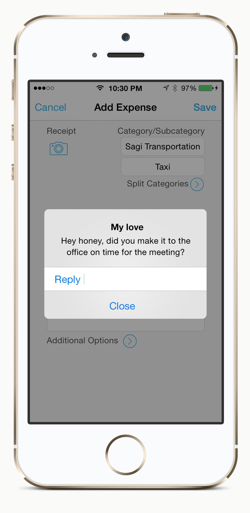 Quick reply suggestion to iOS alert popup