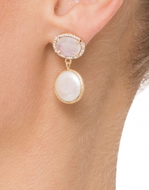 Moonstone and Pearl Drop Earrings with Pave