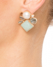 Pearl and Amazonite Cluster Earrings