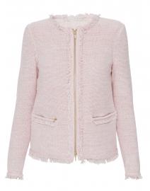 Pink Summer Tweed Cardigan With Fringe Detailing Belford