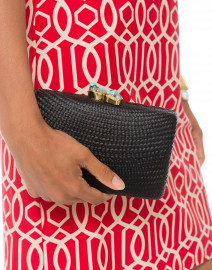 Jen Black Straw Clutch with Turquoise Closure