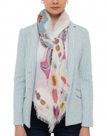 Pink and Blue Paisley Print Ivory Scarf