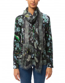 Navy and Green Floral Silk Cashmere Scarf