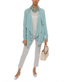 Ice Green Long Cashmere Cardigan