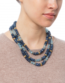 Blue Two-Tone Triple Strand Necklace