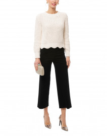 Ariella White Cotton Textured Sweater
