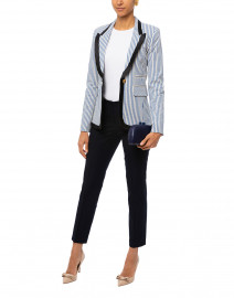 Blue and White Striped Seersucker Blazer
