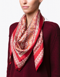 Linfa Red Paisley Printed Silk Scarf
