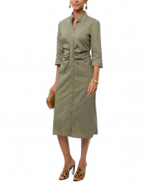 Green Ruched Stretch Cotton Shirt Dress