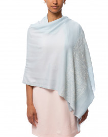 Ice Blue Embroidered Cashmere Scarf