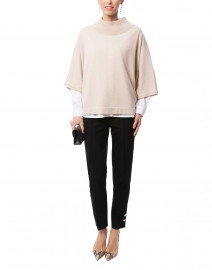 Light Beige Wool Silk Poncho Sweater