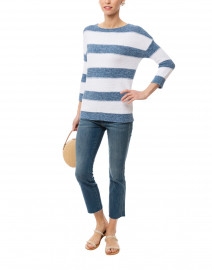 Blue and White Stripe Marled Cotton Sweater