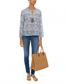 Jose White and Blue Floral Cotton Top