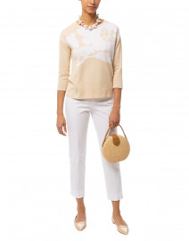 Beige Floral Jacquard Cotton Sweater