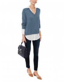 Blue Sweater with White Underlayer