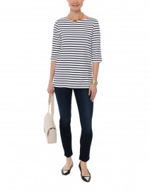 Phare White and Navy Striped Shirt
