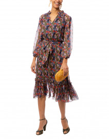Soria Orange and Yellow Floral Printed Silk Dress