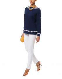 Navy Ribbed Cotton Sweater with White Whipstitching