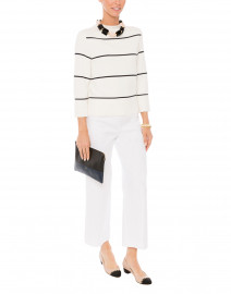 Mara Cream and Navy Striped Mock Neck Sweater