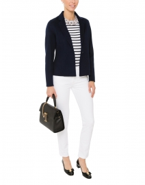 White and Navy Narrow Striped Cotton Sweater