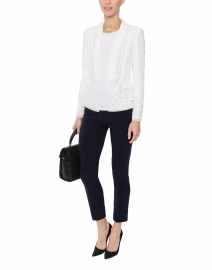 White Crew Neck Long-Sleeved Stretch Viscose Top