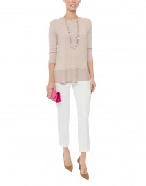 Ivory Stretch Side-Zip Tapered Pant