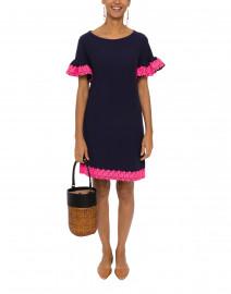 Navy Waffle Knit Cotton Dress