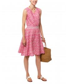 Emane Pink Medallion Printed Cotton Silk Dress