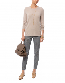 Beige Cashmere Sweater with Buttoned Cuffs