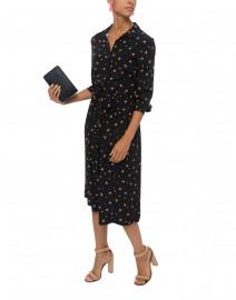 Lucky Clover Black Silk Shirt Dress