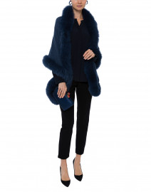 Twilight Blue Cashmere Fur Trim Wrap