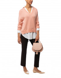 Coral Sweater with White Underlayer