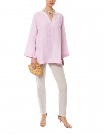 Pink and White Striped Linen Tunic Top