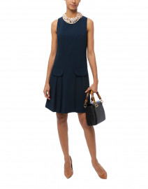 Navy Stretch Crepe Shift Dress