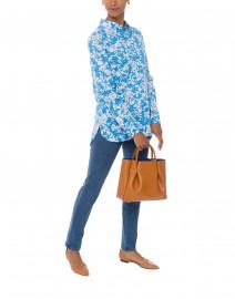 Nalaysie Blue Floral Print Cotton Top