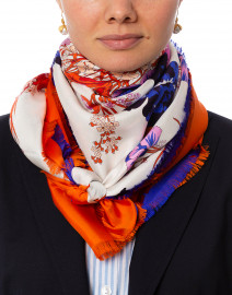 Orange and Blue Floral Saddle Printed Silk Scarf
