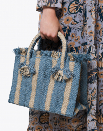 Georges Blue and Light Blue Striped Raffia Small Tote