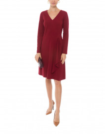 Berry Red Crepe Dress with Ruffle Front