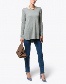 Pale Sage Green Pleat Back Cashmere Sweater